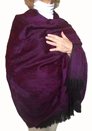 Super Soft Baby Alpaca Wool Reversible Shawl Wrap Cape Bright Purple Color