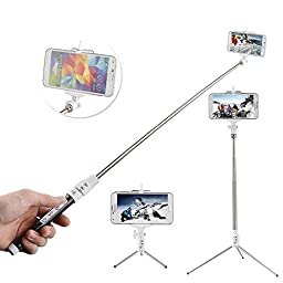 Selfie Stick ,Ecandy Extendable Wireless Bluetooth Monopod Selfie Stick Self Portrait Video Built-in Remote Shutter Button with Tripod Stand and Zoom In/Out Button for Samsung Galaxy S5 S4 S3 S2 Note 4 3 2, iPhone 6 6 Plus 5s 5c 5 4s 4, HTC One M8 M7 X, G