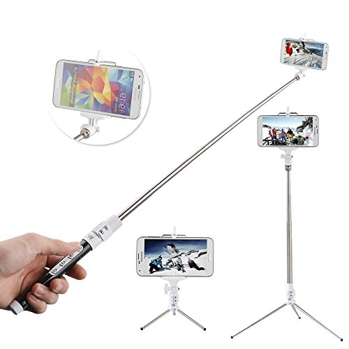 Selfie Stick ,Ecandy Extendable Wireless Bluetooth Monopod Selfie Stick Self Portrait Video Built-in Remote Shutter Button with Tripod Stand and Zoom In/Out Button for Samsung Galaxy S5 S4 S3 S2 Note 4 3 2, iPhone 6 6 Plus 5s 5c 5 4s 4, HTC One M8 M7 X, Google Nexus, Sony Xperia Z3 Z2 and Other Android Phones,Black (Bluetooth Samsung Galaxy S3 compare prices)