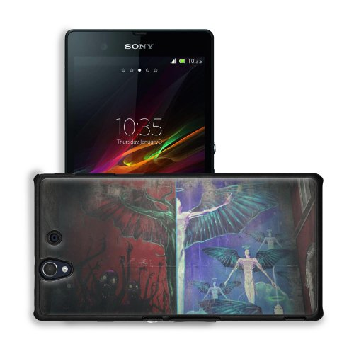 Angels Paintings Wall Demons Graffiti Sony Xperia Z 5.0 C6603 C6602 Snap Cover Premium Leather Design Back Plate Case Customized Made To Order Support Ready 5 4/8 Inch (140Mm) X 2 7/8 Inch (73Mm) X 7/16 Inch (11Mm) Msd Sony Xperia Z Cover Professional Lea