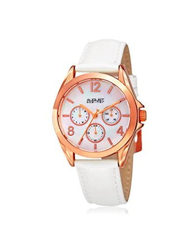 August Steiner Women's AS8191WTR Round Dial White/Rose Gold-Tone Leather Watch