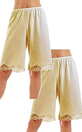 Under Moments Women's Cotton 20 Inch Pettipants Pant Slip, Lace Trim Pack of 2 (Small, Beige)