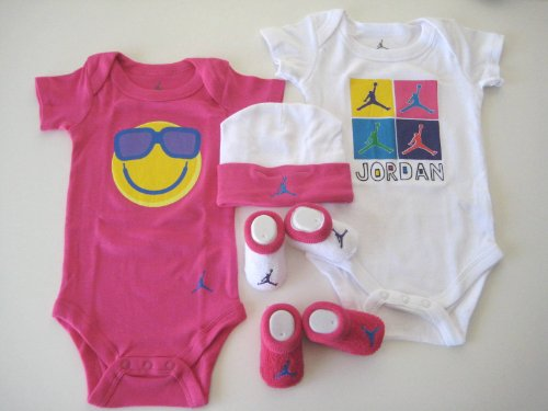 Jordan Infant New Born Baby ; 2 Vest Bodysuit, 2 pair Booties and Cap; 0-6 Months; With