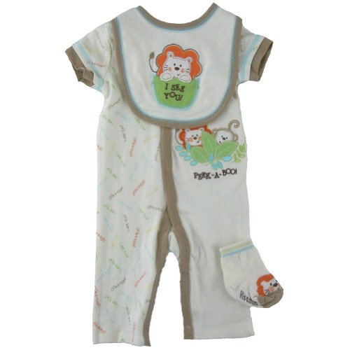 Vitamins Baby Baby-Boys Lion I See You 3-Piece Coverall Set, Off-white, 9 Months