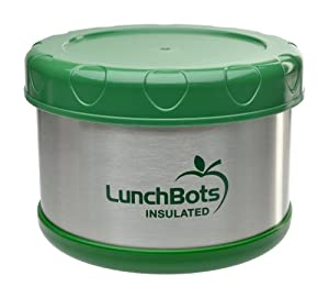 LunchBots Thermal 16-ounce Stainless Steel Insulated Food Container, Green