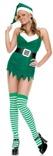 Zaphon Women's Christmas Elf Costume (4 Piece)