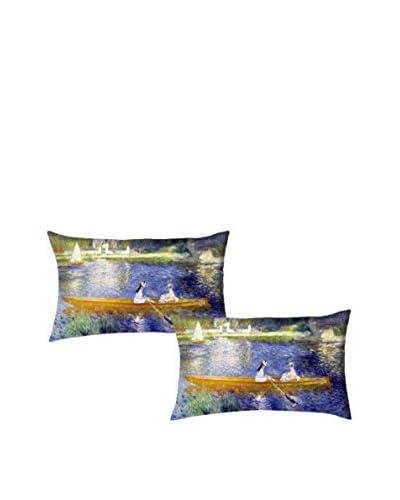 Tele d'autore by MANIFATTURE COTONIERE Set Fodera Cuscino 2 pezzi Renoir-La Yole  [Blu/Multicolore]