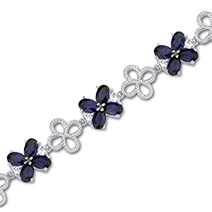 Antique Flower Design Oval Cut Created Sapphire & White CZ Gemstone Bracelet in Sterling Silver Rhodium Nickel Finish