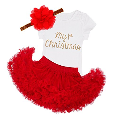 TiaoBug Baby Girls My First Christmas Romper with Tutu Skirt Headband Outfits White&Red 6 Months