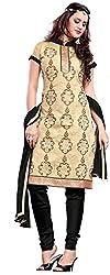 Khushali Presents Straight Dress Material(Chikoo,Black)