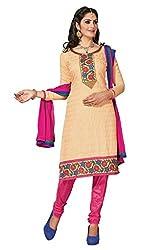 krizel Shagun Beige Chanderi Unstitched Straight Salwar Suit Dress Material