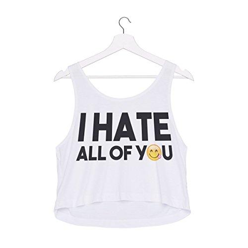 T-shirt donne delle ragazze del carro armato estivo Top Emoji I hate all of you [44]