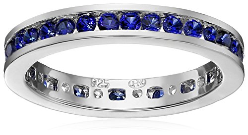 Sterling Silver Stackable Channel Set Created Blue Sapphire Band Eternity Ring, Size 7