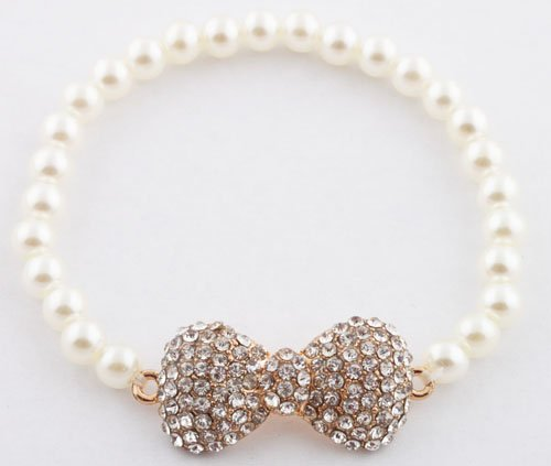 Ladies White with Clear Iced Out Bow Bracelet with Pearl Beaded Disco Balls Shamballah