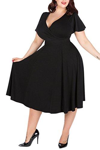 Nemidor Women's V-neckline Stretchy Casual Midi Plus Size Vintage Dress (18W, Black) (Plus Size Vintage compare prices)