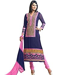 Shayona Women's Georgette Semi Stitched Dress Material_SSE9024SRK_Blue_Free Size