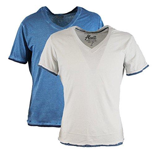 Alcott T-shirt da uomo confezione doppia scollo a V Vintage Acid Wash Pearl-Bluoil L