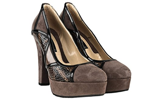 Decoltè plateau scarpe ALBANO donna N.36 taupe 2454 pitonate camoscio X223