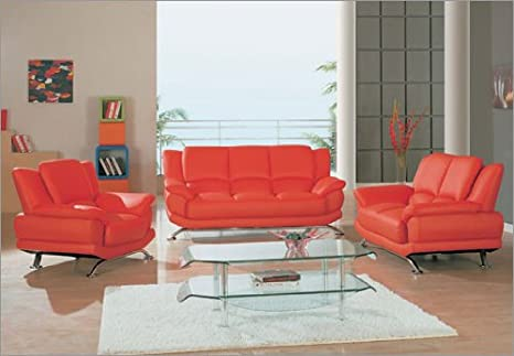 Rogers Red Leather Sofa