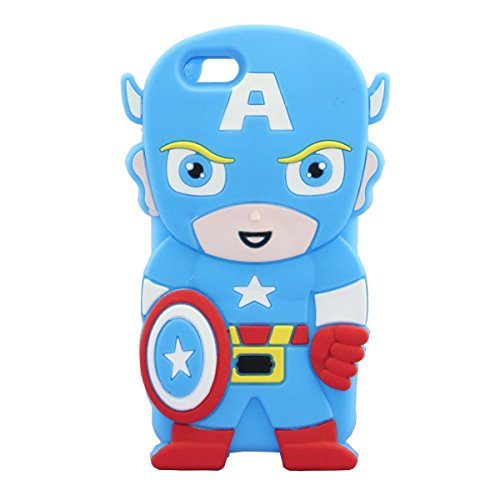 iPhone 6 6S Plus Case, Anya 3D Cute Bow Superhero Series Style Cartoon Soft Rubber Silicone Back Shell Case Cover Skin for Apple Iphone 6 6S 5.5 inch Captain America at Gotham City Store