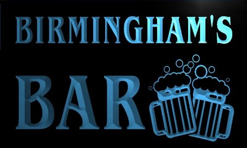 W005182-B Birmingham'S Name Home Bar Pub Beer Mugs Cheers Neon Light Sign
