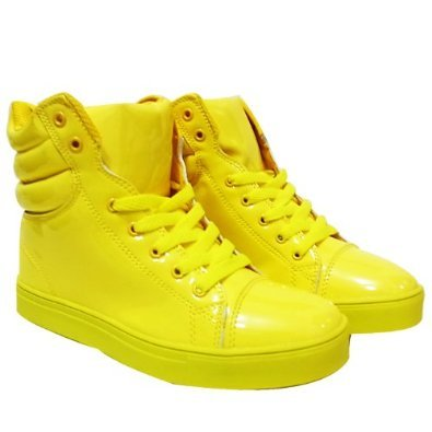 Yellow light and easy to wear simple enamel sneaker dance sneaker 24.5 cm (2)