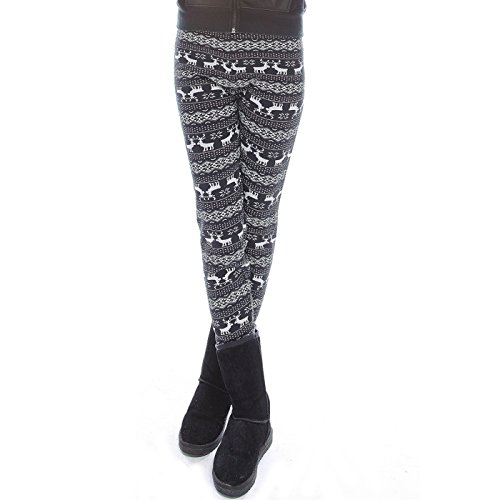 HDE Women's Funky Snowflake Reindeer Nordic Pattern Fleece Lined Winter Leggings