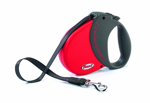 Flexi Durabelt Soft Grip Retractable Belt Dog Leash, Medium/Large, 16-Feet Long, Supports up to 77-Pound, Red/Black