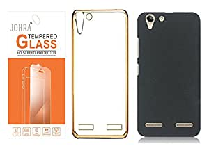 Johra Tempered Glass Screen Scratch Guard Protector With Transparent Silicone Electroplated Edges TPU Back Case & Black Rubberised Matte Hard Case Back Cover For Lenovo Vibe K5
