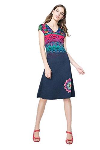 Desigual Damen A-Linie Kleid MAGIC, Knielang, Gr. 40 (Herstellergröße: L), Blau (NAVY 5000) thumbnail