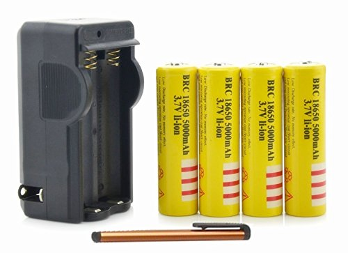 ON THE WAY®Li-ion Battery 4Pcs Yellow 3.7V 18650 5000mah Rechargeable Battery with Battery Charger+FreeTouch Screen Pen for Flashlight Torch Laser Pen