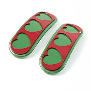 2 Pcs Green Red Heart Pattern Bendy Snap Hair Clips for Girls