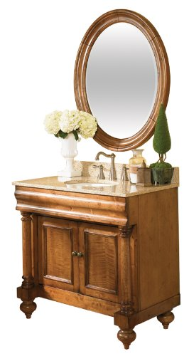 Kaco international 725-2200-B Guild Hall Large Vanity Mirror in a Distressed Black Sherwin Williams Finish