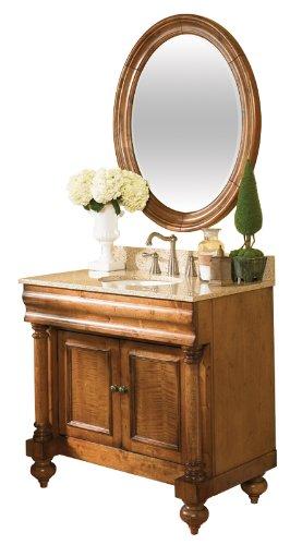 Kaco international 725-2200-B Guild Hall Large Vanity Mirror in a Distressed Black Sherwin Williams Finish