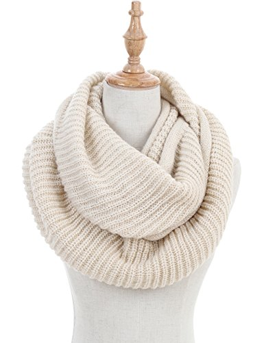 Women Thick Ribbed Knitted Winter Warm Infinity Loop Circle Scarf Beige