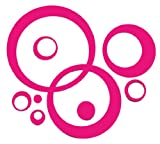 Hot Pink Wall Vinyl Sticker Decal Circles, Bubbles, Dots 25+ Pc