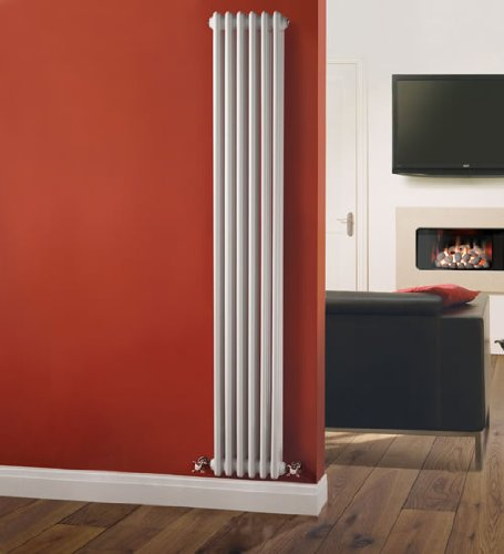Traditional Victorian 6 x 3 Vertical Designer Column Radiator - Cast Iron Style White - 1800mm x 293mm