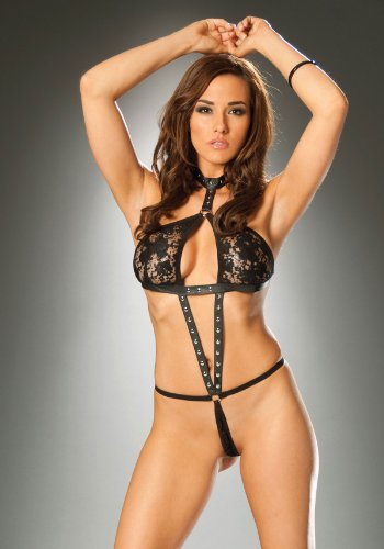 Women's Leather And Lace Halter Neck String Teddy (Black;One Size)
