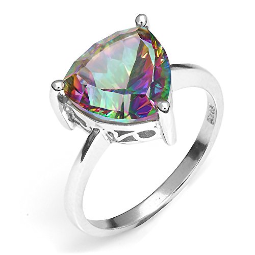 AYT Trillion Natural Gem stone Jewelry Rainbow Fire Mystic Topaz Ring For Women Concave Cut Pure Solid 925 Sterling Silver Fashion 6.0 (Mystic Fire Topaz Gem compare prices)