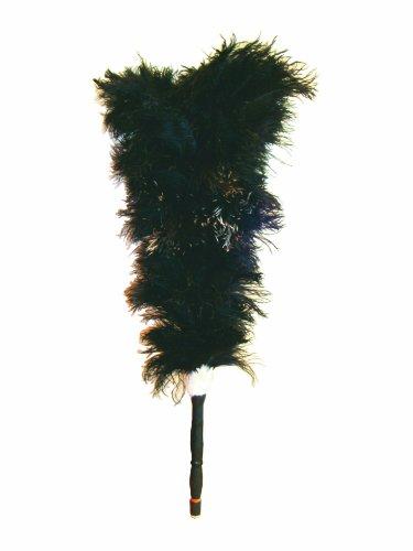 日本製 最高級毛バタキ 小型 オーストリッチ 黒 O-8