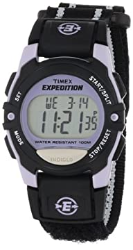 Timex Unisex T49658 Expedition Classic Digital Chrono Alarm Timer Black Fast Wrap Velcro Strap…