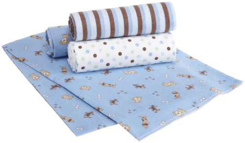 Carter's 4 Pack Wrap Me Up Receiving Blanket, Puppy (Discontinued by Manufacturer)