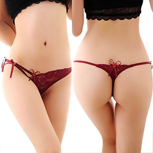Chinatera Women's Naughty Sexy Lingerie Womens Lace T-Back T-String G-string Thong Panty Briefs Knickers Underwear (Wine Red) (Style 1)