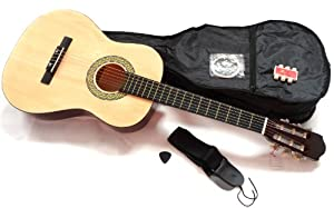 RayGar 3/4 size NATURAL classical guitar pack for kids beginners - suit 9 to 12 years - inc bag, strap, picks, pitch pipes and guitar tutor dvd.
