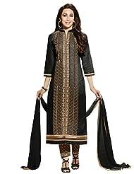 Desi Look Women's Black Cotton Patiyala Dress Material With Dupatta - B0196AL3MS