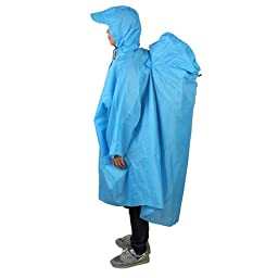 Bluefield Backpack Raincoat Rain Cover Lightweight Overall Rain Coat Cape Poncho Windproof Camping with Hood-Blue Color