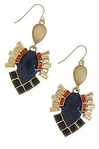 Trendy Fashion Jewelry Retro Faux Gem Earrings By Fashion Destination | (Navy) front-229301