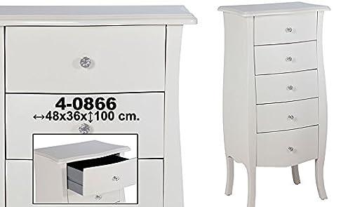 Cassettiera c/5cassetti legno bianco