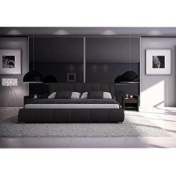 SAM® Polsterbett Innocent Designbett Lumo, 160 x 200 cm in schwarz, Kopfteil im modernen abgesteppten Design, Bettgestell auch als Wasserbett geeignet
