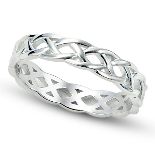 Sz 4 Sterling Silver 925 Celtic Knot Eternity Band Ring (Thumb Rings compare prices)